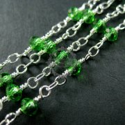 5m 3x4mm green facted glass beads links silver plated brass unique beaded necklace chain DIY supplies findings 1312018