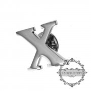 1Pcs X 20MM Initial Letter Alphabet Rhodium Silver Color Brass Fashion Brooch 6540001-24