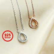 1Pcs 6X8MM Pear Bezel Halo Pave Pendant Settings Rose Gold Plated Solid 925 Sterling Silver Necklace 16Inches +2 Inches Extension DIY Gemstone Supplies 1431046