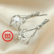 1Pcs 10-13MM Beads Basket Settings Solid 925 Sterling Silver Pendant Charm Supplies 1840352