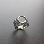 1Pcs 10MM Round Bezel Antiqued Style Solid 925 Sterling Silver Adjustable Ring Settings 1213051