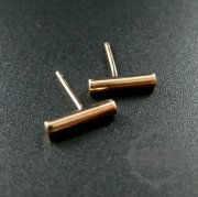 1Pair 11X2MM Round Stick Rose Gold Plated Solid 925 Sterling Silver Fashion Earrings Studs 1703012