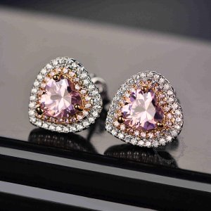1Pair 13MM Silver Pink Heart Love CZ Cubic Zirconia Pave Setting Elegant Luxury Fashion Women Wedding Studs Earrings 6730624