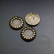 10pcs 10mm round setting bezel vintage style antiqued bronze alloy DIY pendant charm tray supplies 1411180