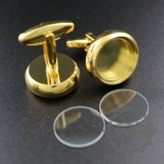 10Pcs 16MM Round Bezel 5MM Depth Gold Floating Cufflinks Tray With Glass 1500150-6