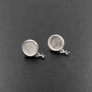 1Pair 10MM Round Setting Bezel Tray 925 Sterling Silver Earrings Studs With Beads Bail Top DIY Supplies 1702161