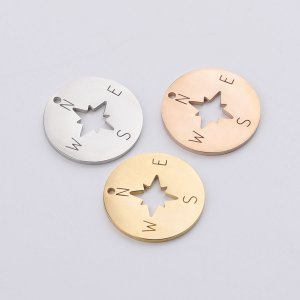 5Pcs 22MM Silver Rose Gold Stainless Steel Compass Tag Stamping Engraving Pendant Charm DIY Supplies 1800466