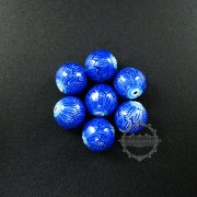 6pcs 12mm brass blue enameled beads metal beads DIY bacelet jewelry supplies 3000039