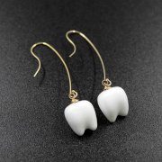 1pair 11x14mm white ceramic teeth charm gold filled drop earrings 6720087