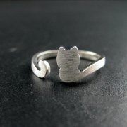 1pcs 925 sterling silver solid silver cat tail fashion adjustable ring 1294043