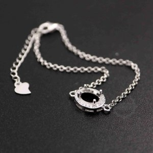 1pcs 5x7-7x9MM Gems CZ Stone Oval Prong Bezel Settings Solid 925 Sterling Silver DIY Charm Bracelet Tray with 6\'\' Chain 1900188