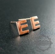 1Pair 5X6MM Letter E Initial Alphabet Rose Gold Plated Solid 925 Sterling Silver Earrings Studs 1703016