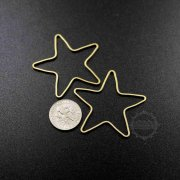 20pcs 40mm simple raw brass wire star loop closed ring DIY pendant charm supplies 1800329-6