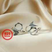 1Pcs 10MM Round Crown Bezel Mermaid Tail Antiqued Solid 925 Sterling Silver Adjustable Ring Settings Supplies 1213043