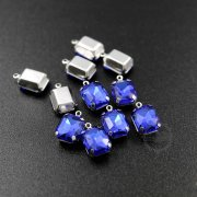 12pcs 8x10mm blue rectangle faceted glass in silver bezel vintage DIY pendant charm supplies 1800328-2