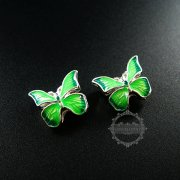 6pcs 16mm*14mm silver plated alloy green enameled butterfly DIY metal beads jewelry supplies 3000040