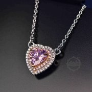 1Pcs 18inches Silver Pink Heart Large CZ Love Pave Setting Cubic Zirconia Women Luxury Elegant Fashion Wedding Necklace 6330031