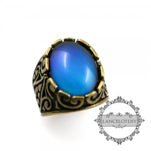 1pcs vintage style oval cabochon bronze color changing mood ring fashion women adjustable ring 6290029-1
