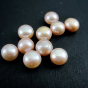 10pcs 5-6mm button shape pink round half drilled fresh water pearl beads for earrings DIY supplies 3020067