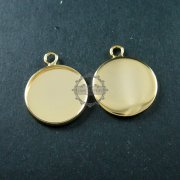 10pcs 18mm setting size simple 14K light gold plated round pendant charm bezel base DIY supplies 1411091
