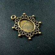 10pcs 10x14mm setting size vintage style filigree star light oval bezel tray DIY pendant charm supplies 1421057