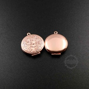 5pcs 27mm flower engraved rose gold tone brass round photo locket pendant charm DIY supplies 1110032