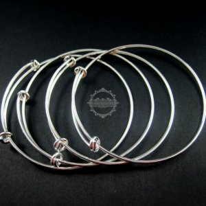5pcs 65mm diameter vintage brass silver plated simple wiring bracelet for beading 1900031
