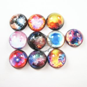1set 25mm half ball twinkle galaxy sky collage pattern round glass cabochon DIY supplies findings 4110059