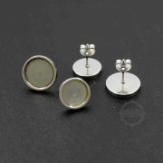10pcs 6-12MM Silver Stainless Steel Round Bezel Studs Earrings Settings DIY Jewelry Supplies Findings 1702174