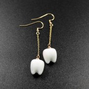 1pair 11x14mm white ceramic teeth charm gold filled wire drop earrings 6720088