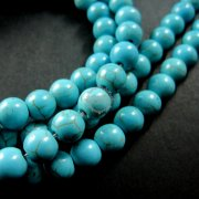 1 string 15inch 8MM round dyed blue TURQUOISE stone loose beads DIY jewelry findings 3010030