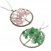1pcs 50MM Pink Rose Quartz and Green Aventurine Tree of Life Power Chakra Pendant Necklace 27'' 6390320