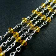 5m 3x4mm yellow facted glass beads links silver plated brass unique beaded necklace chain DIY supplies findings 1312019