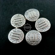 50pcs 12mm vintage antiqued silver flower engraved round flat alloy beads DIY beading supplies 3993007