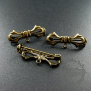 20pcs 11x30m vintage style bronze plated brass bow knot with loop DIY brooch findings supplies 1582040