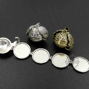 5pcs 25mm vintage style antiqued silver angel wing four fold round ball photo locket pendant charm DIY supplies 1113031