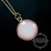 1pcs 18inch 20mm round candy color keep calm series art glass cabochon pendant charm gold plated collage fashion necklace 632003301