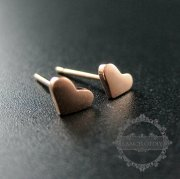 1Pair 4X5MM Rose Gold Plated Solid 925 Sterling Silver Tiny Heart Earrings Stud 1703015