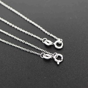 1Pcs 18-20Inches Simple O Ring 925 Sterling Solid Silver Necklace Chain DIY Supplies 1322047