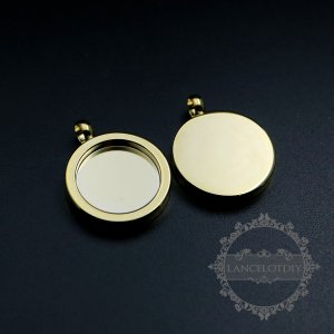 5pcs 15mm setting size round gold pendant tray bezel simple charm for DIY jewelry supplies 1411177