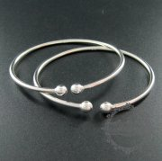 1pcs 60mm diameter 925 solid sterling silver 6mm double ball bracelet bangle cuff 1900143