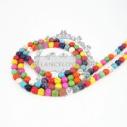 1 string 15inch 6mm vintage mix color dyeing turquoise gemstone kawaii round unique beads 3010016