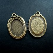 10pcs 18x25mm setting size vintage antiqued bronze oval pendant bezels settings tray 1421041