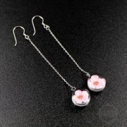 1pair 12mm round glass beads with pink dry flower drop wire earrings 8cm long 6730615