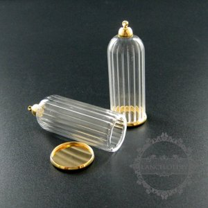 6pcs 20x50mm gold plated cover glass tube vial bottle dome pendant charm settings DIY jewelry findings supplies 1800185