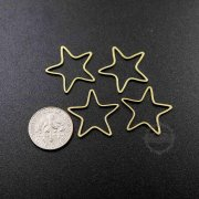 20pcs 22mm simple raw brass wire star loop closed ring DIY pendant charm supplies 1800329-4