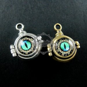 6pcs 22mm vintage style bronze green dragon devil eyes steam punk ball vial wish pendant charm 1800111-2