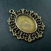 10pcs 18x25mm setting size vintage style filigree flower oval bezel tray DIY pendant charm supplies 1421055