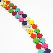 1 string 15inch 15mm vintage mix color dyeing turquoise gemstone square cross unique Halloween beads 3010005