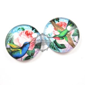 1set 25mm vintage style blue and green bird collage pattern round glass cabochon DIY supplies findings 4110055